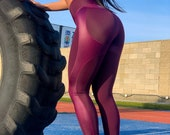 Purple Sports Leggings, Colorful Print High Waisted Tights, Shaping Yoga Pants, Women Booty Lift Activewear, Fitness Gear for Ladies