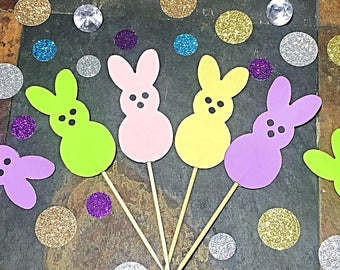 Easter Cupcake Toppers/ Peeps Bunny Easter Cupcake Toppers/ Easter Bunny Toppers