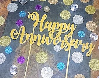 Happy Anniversary Cake Topper, Anniversary Cake Topper, Anniversary Party, Wedding Anniversary Topper, 1st Anniversary