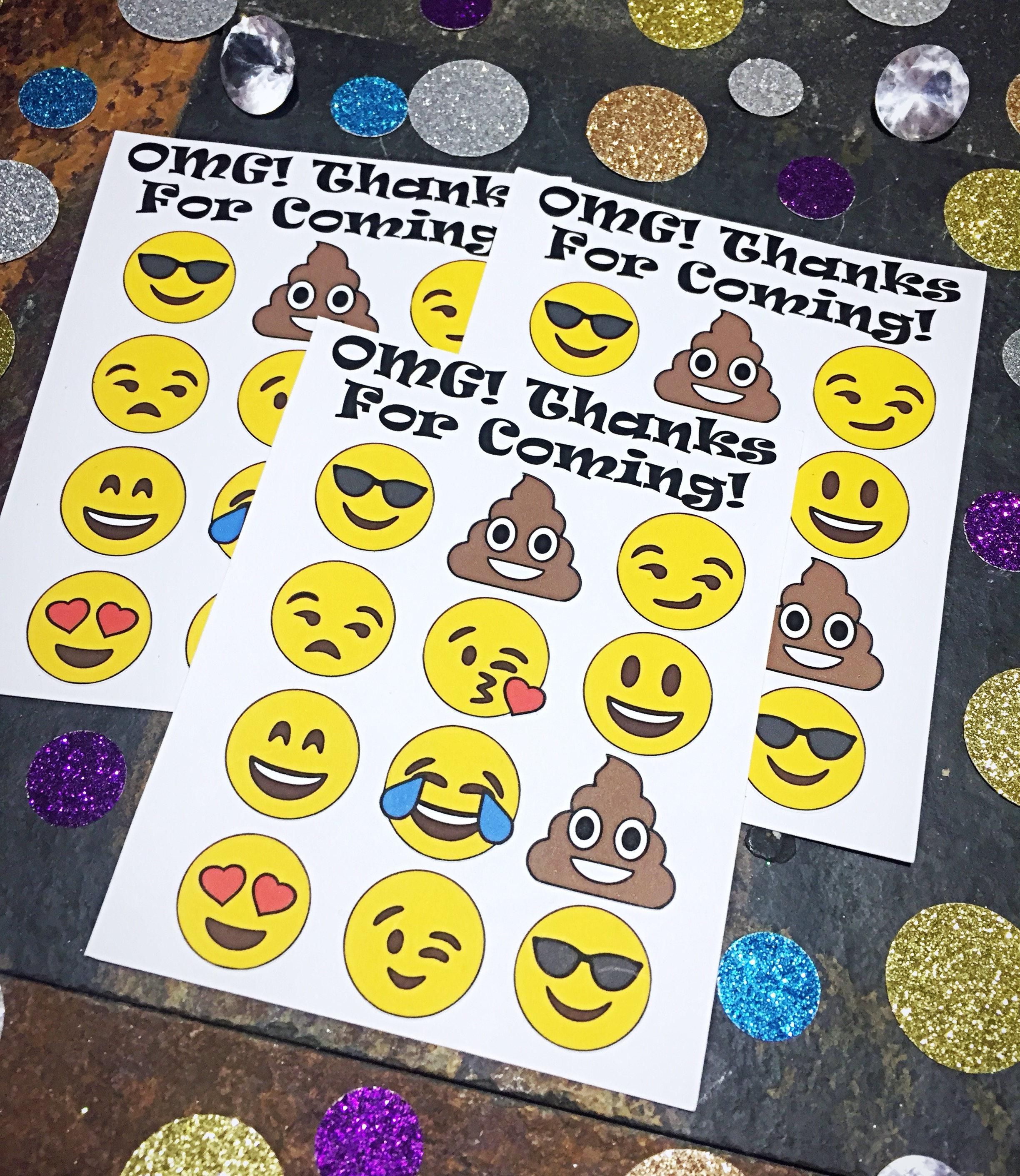 Emoji Party Favors Birthday Stickers