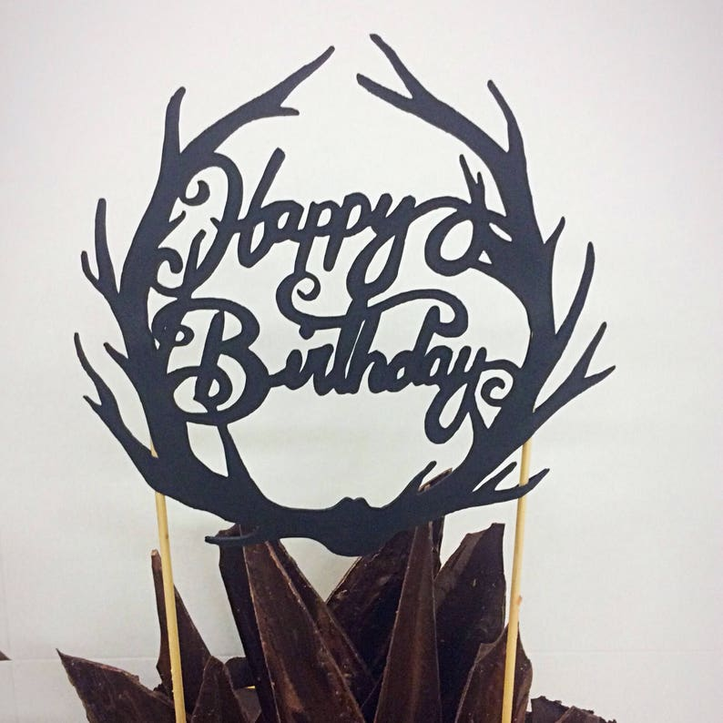 Hunting Cake Topper Happy Birthday Antlers Hunter Decor