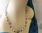 Turquoise, red Jasper and Silver Necklace with matching Earrings