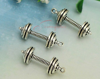 4 Barbell charms antique silver tone SP132