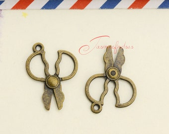 Free 100Pcs Bronze Plated Scissor Charms Pendant Fit Bracelet Jewelry 27x20mm