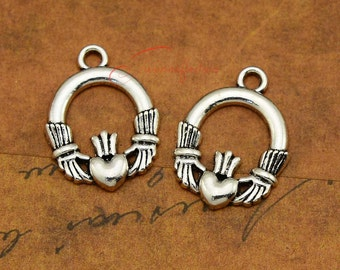 5 Hand in Hand Charms Antique Silver Tone with 2 Inset Rhinestones SC3454