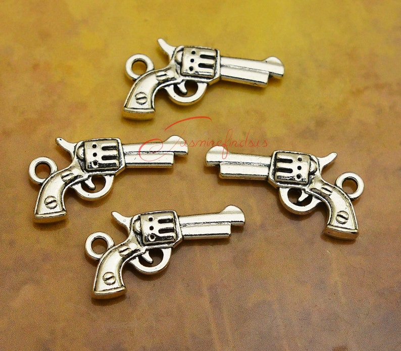 35 Pistol Tibetan Silver Charms Pendants Jewelry Making Findings