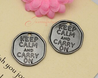 5PCS--27x26mm ,Words Charms, Antique Gun Black Keep Calm and Carry on charm pendants , DIY supplies,Jewelry Making