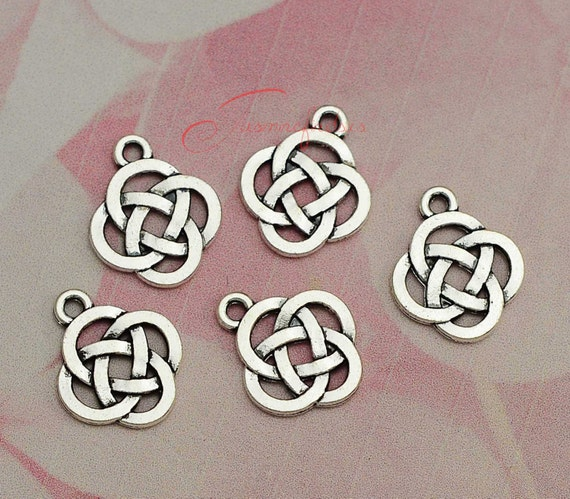 10 Tibetan Silver Celtic Knot Charms Pendants Double Sided for Jewellery Making