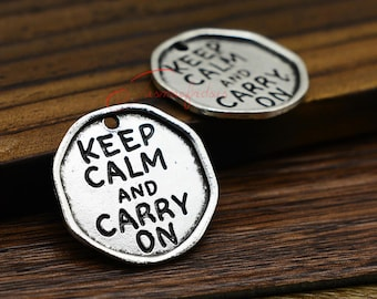 5PCS--27x26mm ,Words Charms, Antique Tibetan silver Keep Calm and Carry on charm pendants , DIY supplies,Jewelry Making