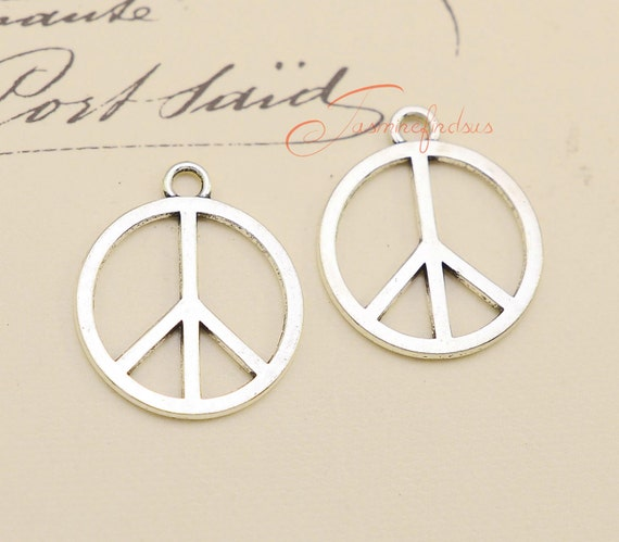 30pcs Peace symbol Tibet silver Charms Pendants DIY Jewellery Making crafts