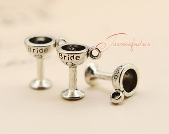 25PCS--14x12mm Bride Goblet Charms,Antique Tibetan Silver Toasting bride Goblet Charm pendants, DIY Findings, Jewelry Making