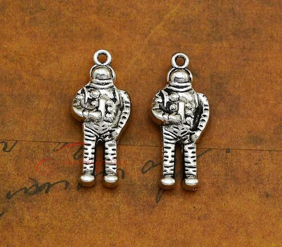 6 Letter U charms antique silver tone