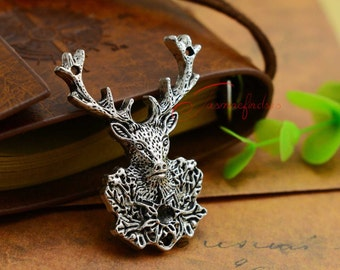 3PCS--51x38mm ,Deer Charms, Antique silver Huge Deer head Charm pendant, DIY supplies,Jewelry Making
