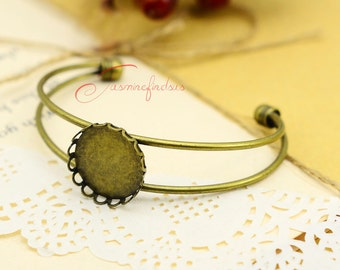 2pcs--Round Brass Bangle Cameo Base Setting Handcuff Blanks, Inner: 20mm, LM7775-5520