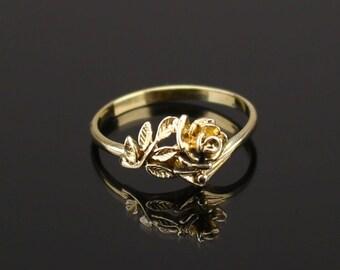 Bronze  flower rose Flower ring Nature ring  Branch ring Gypsy ring Twig ring  Bronze Ring   Flower and Leaf   Nature   Folk Art