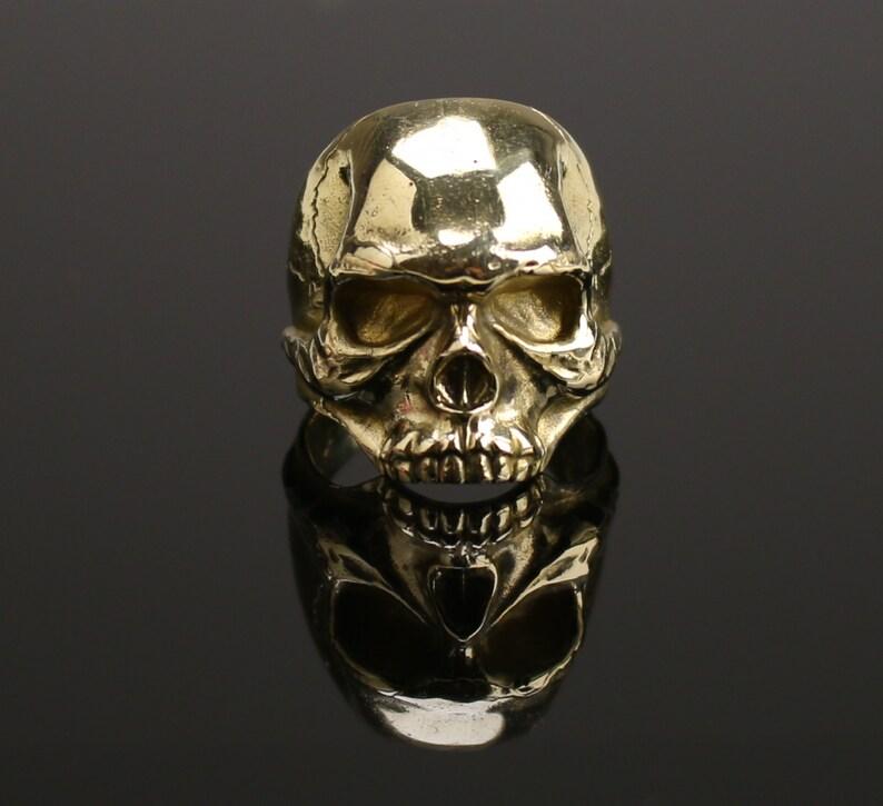 Bronze Skull Ring Сranium ring bronze Ring bronze head Scalp image 0