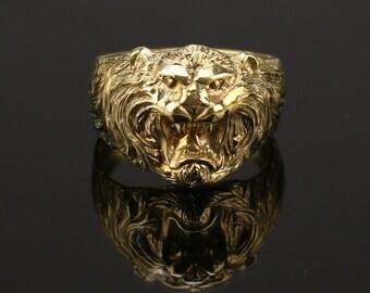 Bronze  Lion Ring  Ring  Lion Head Mens Ring   Jungle King  Lion art
