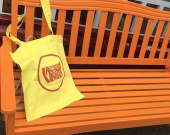 Yellow Vegan Burd Tote Bag