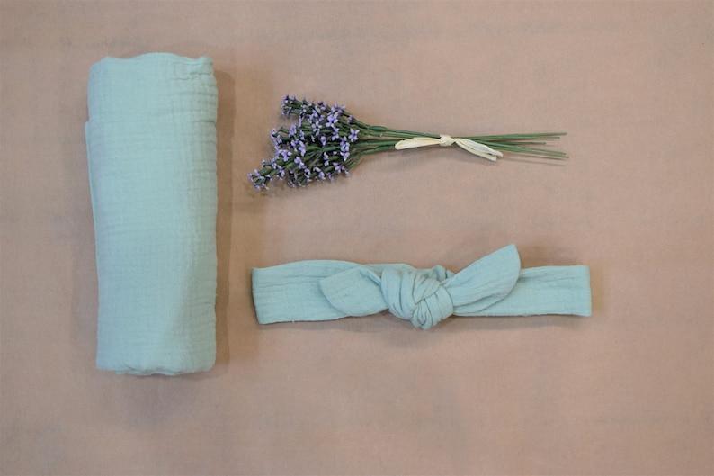 3dda05a43e7 Baby swaddle and headband set Baby blanket Pastel mint double