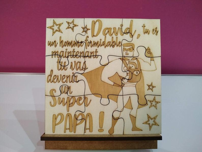 Puzzle annonce grossesse personnalisé en bois peuplier | Créatrice : PresentArtDesign | A découvrir sur le blog : keepcoolnewmom.com
