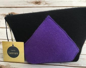 Black and Purple HANDMADE Cashmere Bag