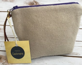 Tan with Purple Zipper HANDMADE Cashmere Bag