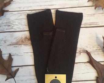HANDMADE Brown Fingerless Cashmere Gloves