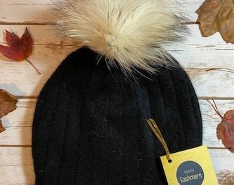 Black Ribbed Cashmere Hat with Pom Pom