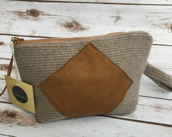 HANDMADE Beige and Brown Suede Cashmere Bag