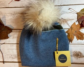 HANDMADE Blue Double Ply Cashmere Hat with Pom Pom