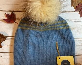 HANDMADE Blue Striped Cashmere Hat with  Pom Pom