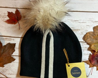 HANDMADE Black with White stripes Cashmere Double Ply Hat with Pom Pom