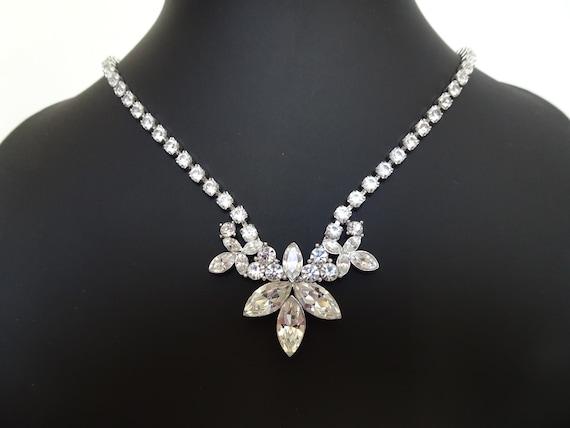 Signed MONET - Art Deco Style Rhinestone Necklace… - image 1