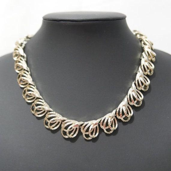 Signed CORO- Necklace - Swirl Gold Tone Choker Vin