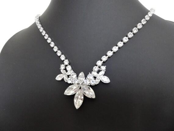Signed MONET - Art Deco Style Rhinestone Necklace… - image 2