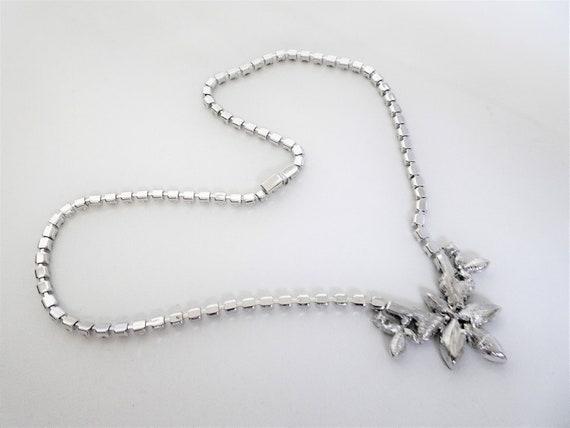 Signed MONET - Art Deco Style Rhinestone Necklace… - image 5