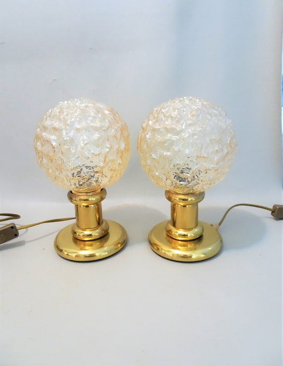 Two 2 Identical Brass Table Lamps With Amber Colored