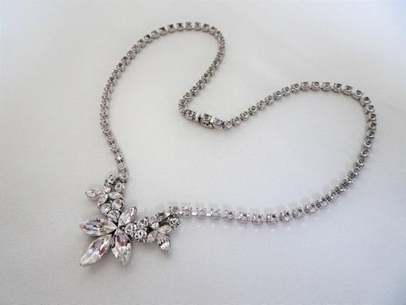 Signed MONET - Art Deco Style Rhinestone Necklace… - image 4