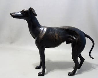 Large image sculpture of a greyhounds dog-male-cast iron-Whippet Greyhound-dog statue-gift for dog lover Male Woman