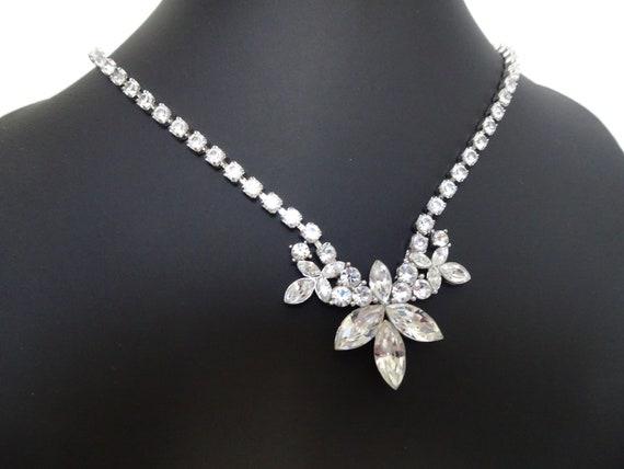 Signed MONET - Art Deco Style Rhinestone Necklace… - image 3