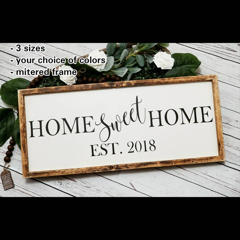 74e276f47d41a Home Sweet Home Established sign, home sweet home sign, established date  sign, first home sign, realtor gift, farmhouse style wood sign