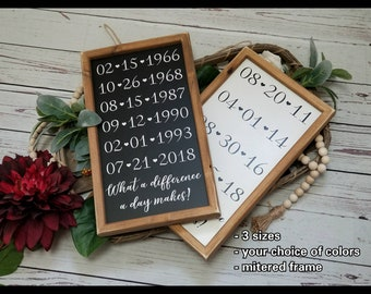 Important dates, family dates sign, special dates sign, what a difference a day makes, this is us sign, anniversary dates sign, date sign
