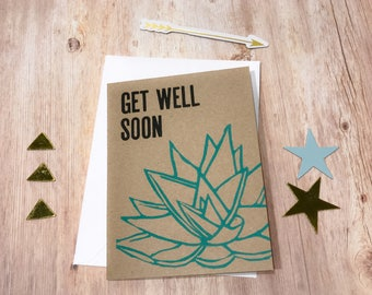 Flower Get Well Soon Card, Aloe Get Well Soon Card, Letterpress Get Well Soon Card