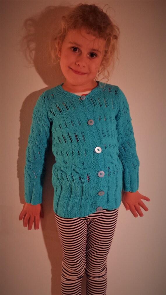 Strickpullover mit Knöpfen, handgestrickt blau Kinder Strickjacke, Mädchen Pullover, Pullover mit Muster, handgestrickt Strickjacke, handgemachte