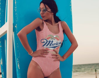 Merica Since 1776 Swimsuit, Usa Swimsuit, 4th Of July, Bodysuit, Usa Bodysuit, Festival, One Piece Swimsuit, Funny Swimsuit, Bathing Suit