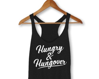 Hungry And Hangover Tank, Brunch, Food, Mimosas, Champagne, Hungry Tank, Muscle Tank, Women, Foodie, Hungry, Workout, Fitness, Tank, Gym