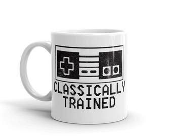 Classically Trained Mug - Gamer Mug - Funny Coffee Mug - Geek Coffee Mug - Geek Mug - Video Game Mug - Nintendo Mug - Mario Mug - Nes Mug