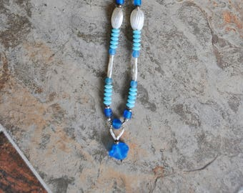 "Sea Glass, Shells and Blue Glass Beads 27"" necklace"
