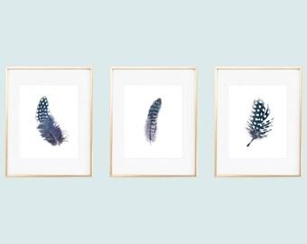 Navy Feather Prints / Feather Printables / Indigo Feathers / Feather Wall Art / Feather Art / Instant Download