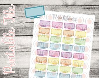 Printable Rainbow TV Stickers // Planner Stickers